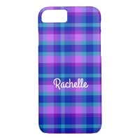 Turquoise Teal Navy Blue Purple Lavender Plaid iPhone 7 Case