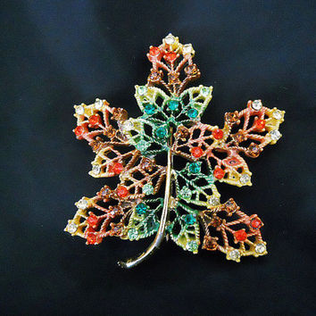 Vintage Rhinestone Leaf Brooch -  70s Autumn Leaf Pin with Multi-Color Rhinestones