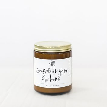 "PROMENADE FIELD ""CONGRATS ON YOUR NEW HOME"" CANDLE"