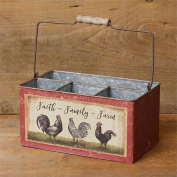Faith Family Farm Rooster and Hen Divided Tin Caddy