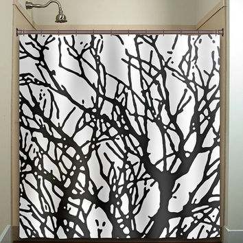 Branches Tree Branch Shower Curtain Bathroom Decor Fabric Kids Bath White Black Custom Color Curtains