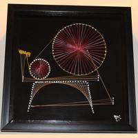 Spinning Wheel - Nail and String Art  - Art  - Living - Home + Work