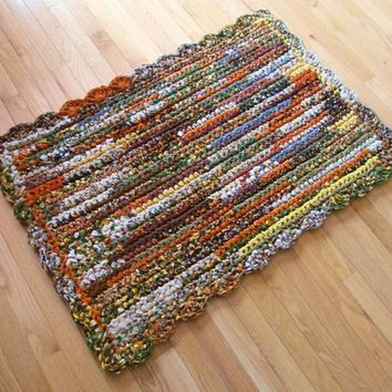 Rug, Rag Rug, Rag Rugs, Crocheted, Handmade, Cotton, Cotton Fabric, Rectangular, Home Decor, Accent Rug, Kitchen, Country Farmhouse, Den