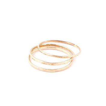 Hammered 1mm 14K Gold Ring