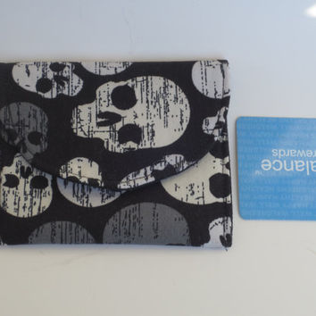 Skulls fabric - Skull Wallet - Business card holder - Debit cash wallet