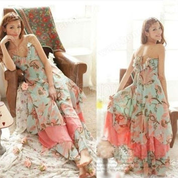 NEW Summer Women Floral V-Neck Beach Boho Maxi Sundress Long Irreguler Dress = 1697609220