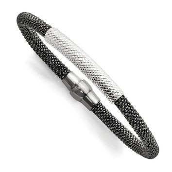 Sterling Silver Ruthenium-plated Mesh Bracelet