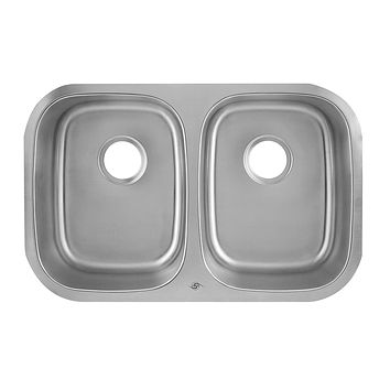 DAX-2918 / DAX 50/50 DOUBLE BOWL UNDERMOUNT KITCHEN SINK, 18 GAUGE STAINLESS STEEL, BRUSHED FINISH