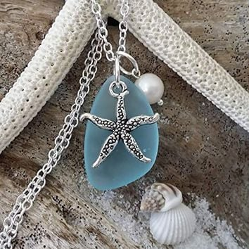 Handmade in Hawaii, turquoise bay blue sea glass necklace,starfish charm,fresh water pearl, sterling silver chain, Hawaiian Gift, FREE gift wrap, FREE gift message, FREE shipping