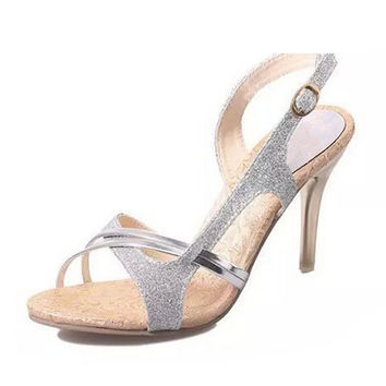 Summer new women's elegant high-heeled shoes banquet nightclub thin heels sexy gold sandals