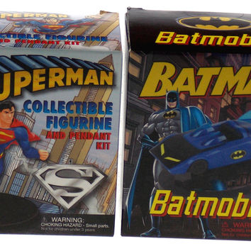 Set of 2 Batman v Superman Collectible Figurine Pendant Batmobile Mega Mini Kits