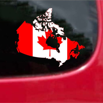 Canada Outline Map Flag Vinyl Decal Sticker Full Color/Weather Proof.