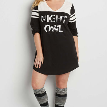 plus size football sleep tunic with night owl graphic | maurices