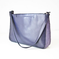 Vintage Purple Leather and Fur Handbag - Adrienne Vittadini