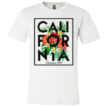 Cali Tropical Flowers Black Print Asst Colors Mens Lightweight Fitted T-Shirt/tee