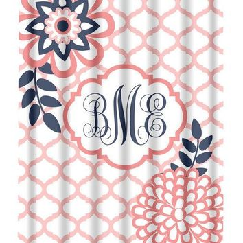 Coral Navy SHOWER CURTAIN, Flower Bathroom, Custom MONOGRAM Personalized, Floral Bathroom Decor, Bath Towel, Plush Bath Mat