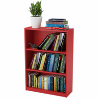 3-shelf Bookcase for Dorm Room, Home Office, Living Room Kids Room, Ruby Red