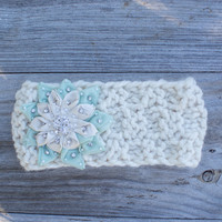 Winter Crisp Mint Snowflake-Knitted Headband-Knit Headband-Ear Warmer-Gift for Her-Women's Fashion Accessory-Handmade USA-Headwrap
