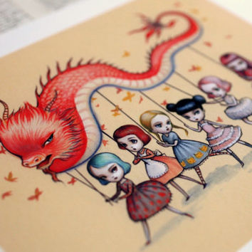 $60.00 The Dragon Dancers  signed 8x10  Fine Art Print by mabgraves