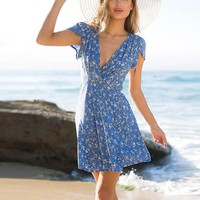 Floral Print Beach Dress Boho Style Deep V Neck Short Sleeve Sexy Party Mini Wrap Dresses