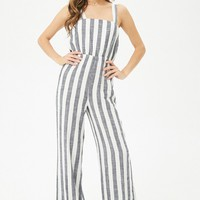 Striped Linen-Blend Jumpsuit