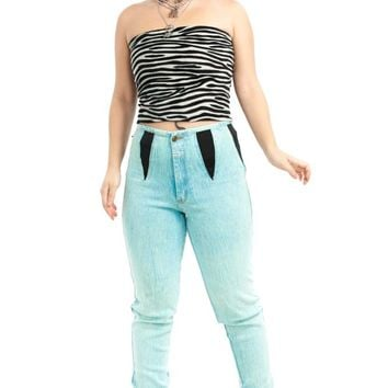 Vintage 90's Teal Me About It Stud Stretch Jeans - M/L