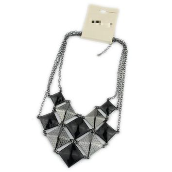 European and American jewelry exaggerated trend fashion sweater chain luxury necklace girls black square accessories jewelry EX