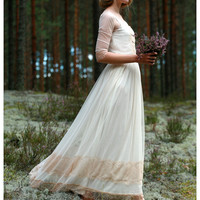 Elegant Ivory lace and tulle gown, dress - made by your measurments