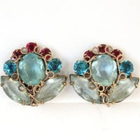 Vintage High End Rhinestone Earrings Stunning Faceted Glass Pastel Blue Teal Pink Gold Tone Metal Clip Ons