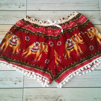 Pom pom shorts Elephant Printed Beach Summer Hippie Exotic Boho Clothing Aztec Ethnic Bohemian Ikat Boxers Comfy Shorts Pants Unique in Red