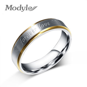 Modyle Gold-Color Stainless Steel Titanium Men Women Titanium 316L Forever Love Ring Promise Lovers Couple Rings Wedding Rings