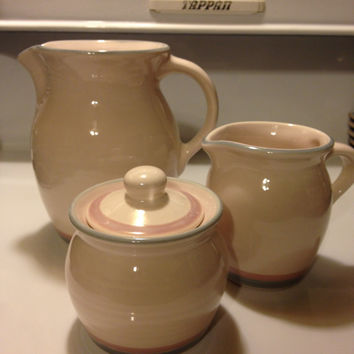 Pfaltzgraff AURA Pitcher, Creamer, and Sugar Bowl with Lid Retired Pottery Pale Rose Pink and Blue