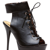 Qupid Black Cuff Up Lace Up Corset Peep Toe Booties