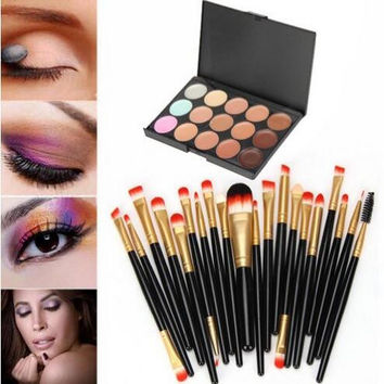 20 pcs/set Makeup Brush Set (15 Colors Concealer + 20 BRUSH) Gift