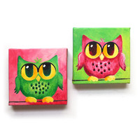 Whimsical Wall Art, Pink and Green Owl Pair, 2 6x6 acrylic canvas paintings