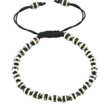 Small  Painted Bead Bone Adjustable Wrist Mala
