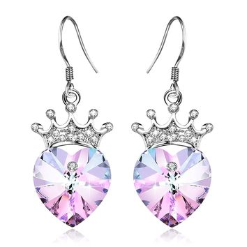 [Valentines Day Gift] Angelady Purple Pink Crown Drop Earrings Jewelry with S925 Sterling Silver Hook,Crystal from Swarovski