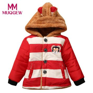 Fashion Warm Baby Toddler Girls Autumn Winter Hooded Coat Cloak Cute Bear Pattern Striped Thick Warm Coats Outwears Clothes