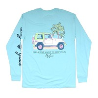 Girls Want to Have Sun Long Sleeve Tee in Chalky Mint by Lily Grace - FINAL SALE
