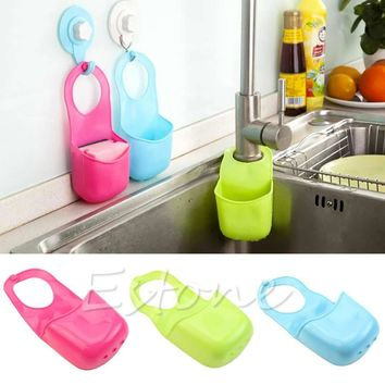 Kitchen Sink Sponge PVC Hanging Shelving Rack Drain Faucet Storage Pail Shelves