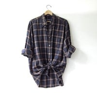 Vintage Plaid Flannel / Grunge Shirt / Boyfriend button up shirt