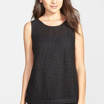 Women's Gibson Sleeveless Embroidered Mesh Front Top,