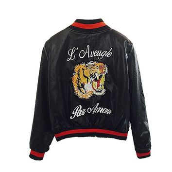Trendy Fashion Faux Leather Bomber Jacket Women Tiger Head Embroidery Short Motorcycle Pu Leather Jacket Outerwear Womens Casaco AT_94_13