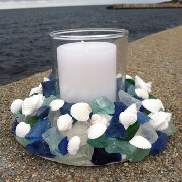 Beach Decor - Sea Glass & Shell Wreath With Candle (SGW003)
