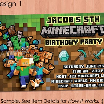 Minecraft Invitation - Printable Minecraft Invitation - Minecraft Birthday Invitation - Birthday Party Ideas Creeper