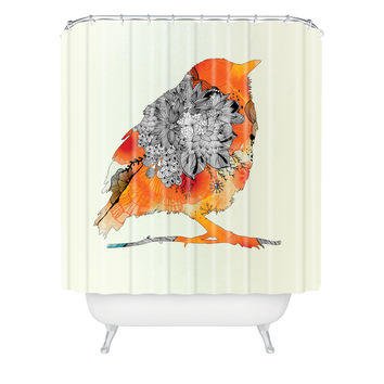 Iveta Abolina Orange Bird Shower Curtain