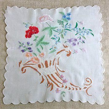 Antique embroidery satin-stitch 1930s, embroidered flowers, handworked, cotton canvas, Hand embroidered, Vintage Home Decor Doilies MyWealth