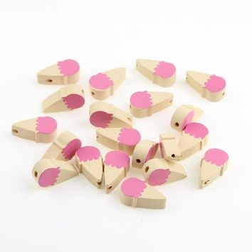 30Pcs Wooden Cream Beads Wood Findings for Baby DIY Crafts Kids Toys Teething Necklace Pacifier Clip Spacer Beading Bead