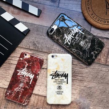 One-nice™ stussy Marble pattern Creative iPhone 6s phone case iPhone7 Plus Frosted soft protective cover