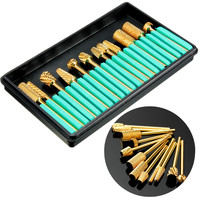 12Pcs Electric Gold Aluminium Grinding Polishing Machine Manicure Pedicure Heads Nail Drill Bits Set